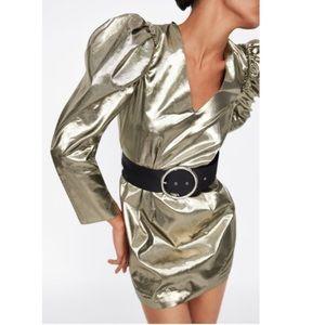 ZARA mini ballon sleeves silver metallic dress